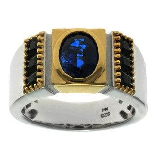 Michael Valitutti Palladium Silver Men's Kyanite and Black Spinel Ring