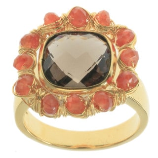 Michael Valitutti Gold over Silver Ring Smoky Quartz Sunstone Ring