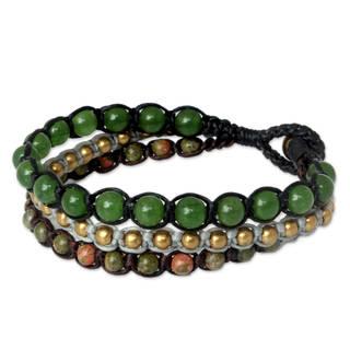 Handmade Brass 'Urban Colors' Unakite Quartz Bracelet (Thailand)