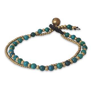 Handmade Brass 'Dazzling Green Harmony' Serpentine Bracelet (Thailand)