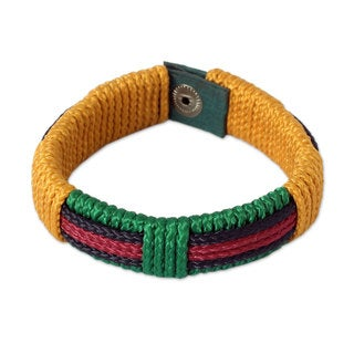 Handcrafted Men's Recycled Paper 'Colors of Africa' Bracelet (Ghana)
