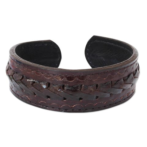 Handmade Men's Leather 'Brown Braided Path' Bracelet (Thailand)