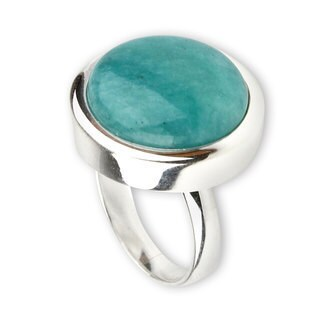 Handmade Unique Minimalism Amazonite Sterling Silver Ring (Peru)