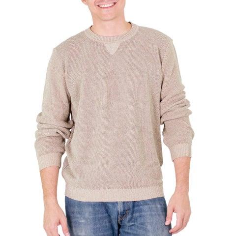 Handmade Men's Cotton 'Sporting Elegance' Sweater (Guatemala)