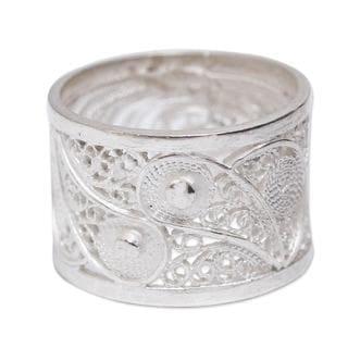 Yin Yang Glow Symbol Handmade Artisan Designer Fashion Accessory Sterling Silver Floral Filigree Size 13mm Band Ring (Peru)