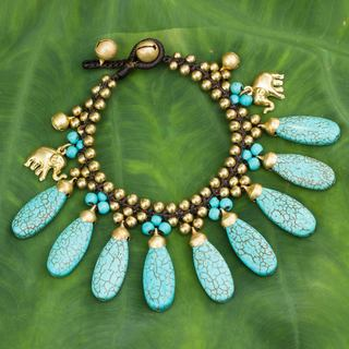 Handcrafted Brass 'Siam Legacy II' Calcite Bracelet (Thailand)