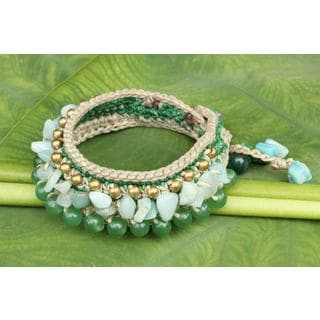 Handcrafted Brass 'Green Dreams' Multi-gemstone Bracelet (Thailand)