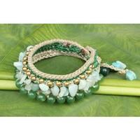Handmade Brass 'Green Dreams' Multi-gemstone Bracelet (Thailand)