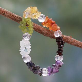 Handcrafted Multi-gemstone 'Peaceful Friendship' Bracelet (India)