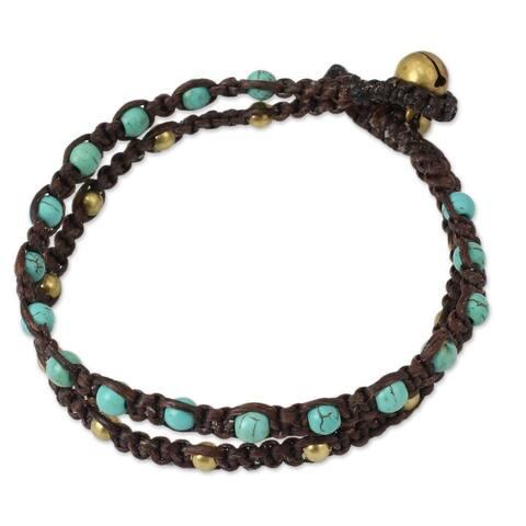 Handmade Brass Aqua Boho Chic Calcite Bracelet (Thailand)