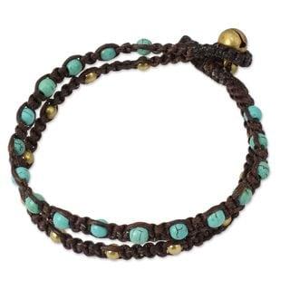 Handcrafted Brass 'Aqua Boho Chic' Calcite Bracelet (Thailand)