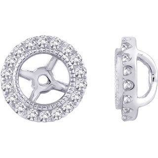 14k White Gold 1/4ct TDW Halo Diamond Earring Jackets (G-H, I2-I3)