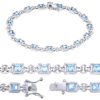 Sterling Silver Princess-cut Blue Topaz Link Bracelet