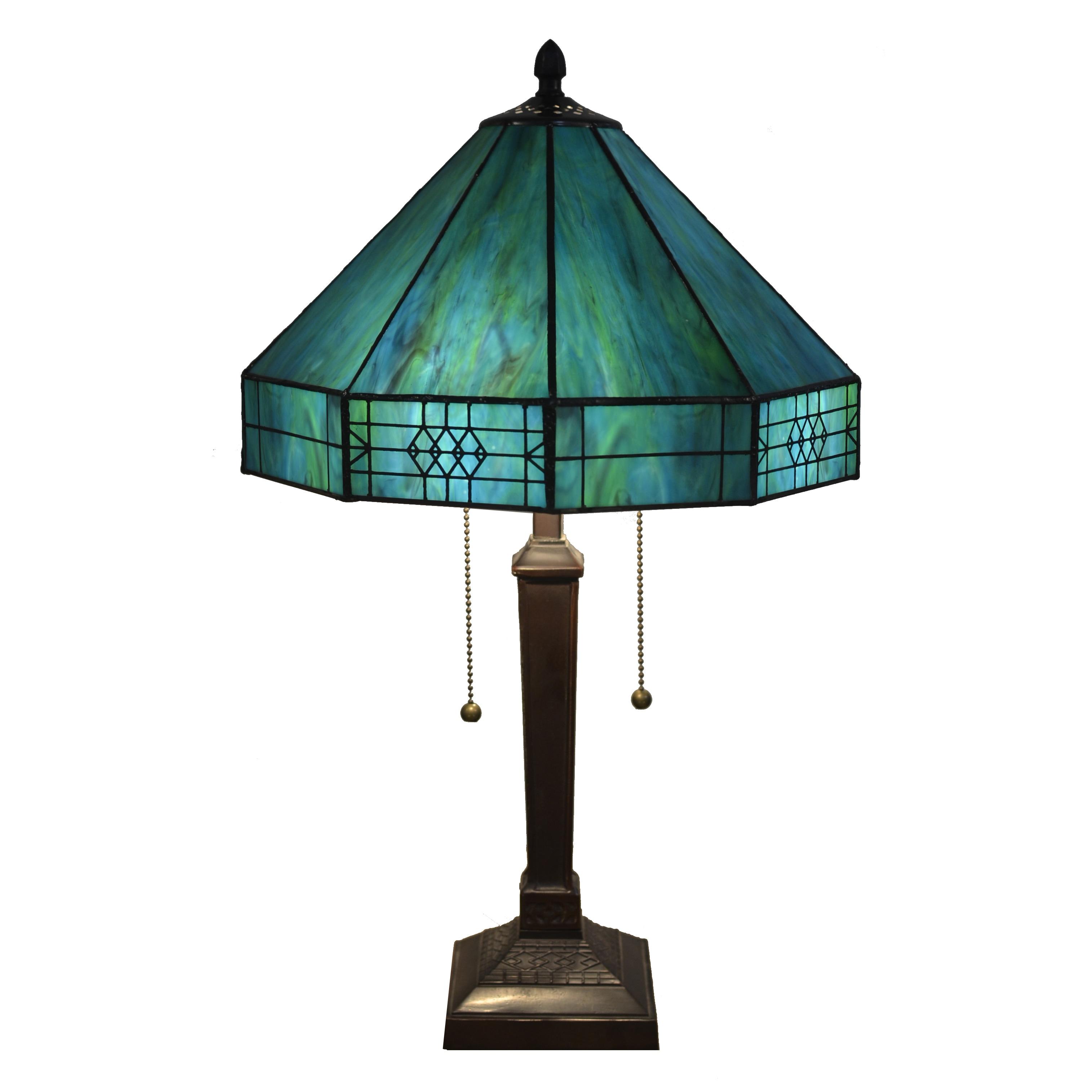 Maeve Tiffany-style 2-light Turquoise Table Lamp (Turquoise Tiffany-style Table Lamp)