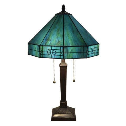 Maeve Tiffany-style 2-light Turquoise Table Lamp