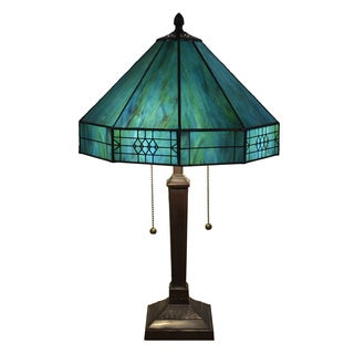 Maeve Tiffany-style 2-light Turquoise Table Lamp