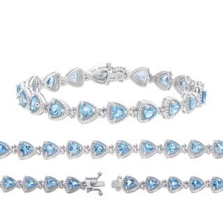 Sterling Silver Trillion Blue Topaz Link Bracelet