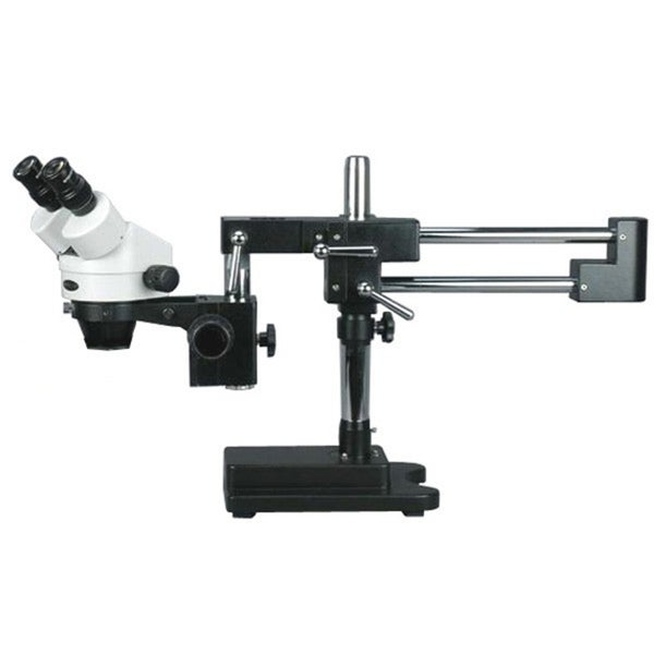 7X-90X Binocular Stereo Zoom Microscope with Black Double Arm Boom Stand