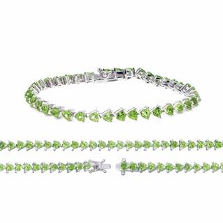 Sterling Silver Princess-cut Peridot Slim Link Bracelet
