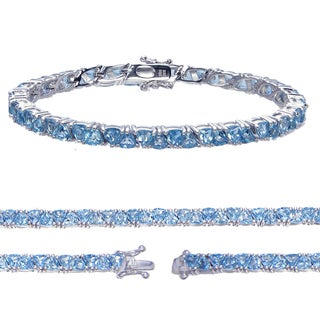 Sterling Silver Trillion-cut Blue Topaz Link Bracelet
