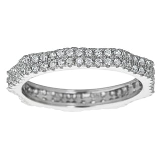 Decadence Sterling Silver Micropave 2-strand Cubic Zirconia Eternity Ring