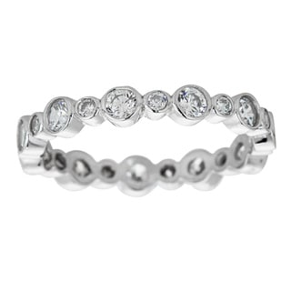 Decadence Sterling Silver Micropave Fancy Cubic Zirconia Beveled Eternity Ring