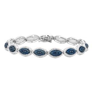 Divina Sterling Silver 1/4ct TDW Blue Diamond Marquise Link Bracelet