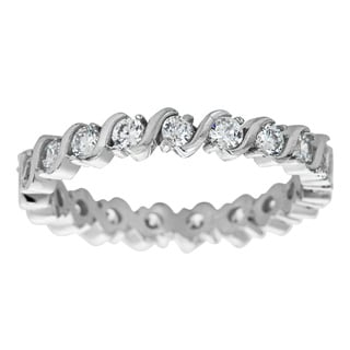 Decadence Sterling Silver Micropave Cubic Zirconia S Link Eternity Ring