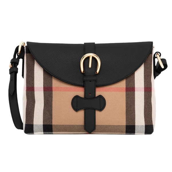 Shop Burberry Small House Check and Leather Crossbody Bag - Free ... e3479998d6f7b