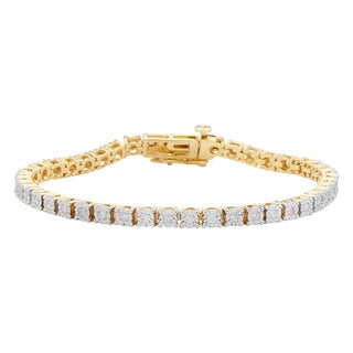 Divina Yellow Goldplated Sterling Silver 1ct. TDW Diamond Tennis Bracelet