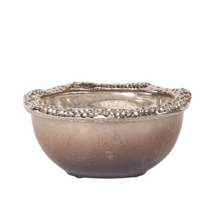 Matte Nickel Hammered Aluminum Small Glass Bowl