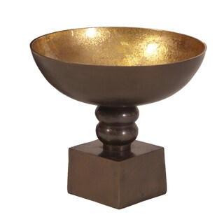 Bronze Small Footed Bowl with Round Gold Luster Inside