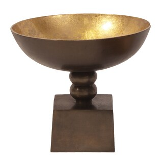 Bronze Large Footed Bowl with Round Gold Luster Inside