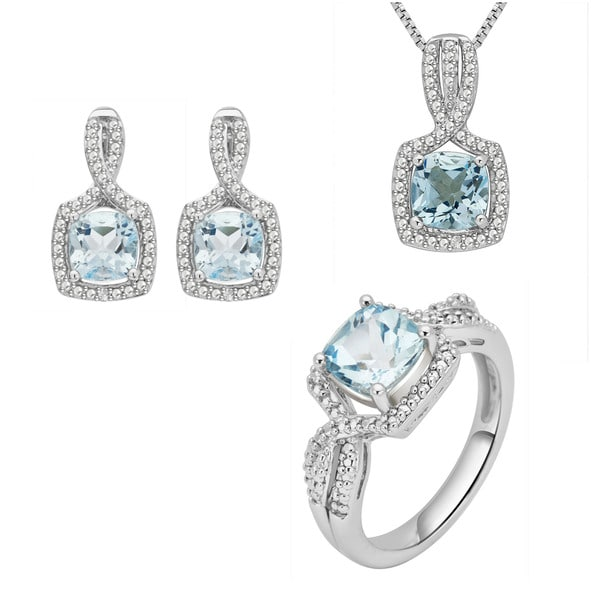 Divina Rhodium-plated Brass Diamond Accent and Blue Topaz 3-piece Jewelry Set