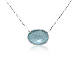 Sterling Silver Blue Topaz Single Slice Necklace