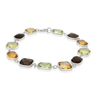 Sterling Silver Multi Gemstone Link Bracelet