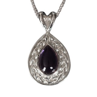 Handmade Sterling Silver Celtic Tear-drop Natural Cabochon Amethyst Necklace (Thailand)
