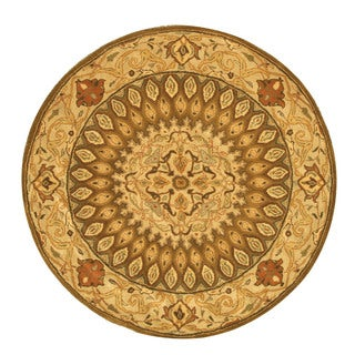 EORC Hand-tufted Wool Brown Gombad Rug (6' Round)