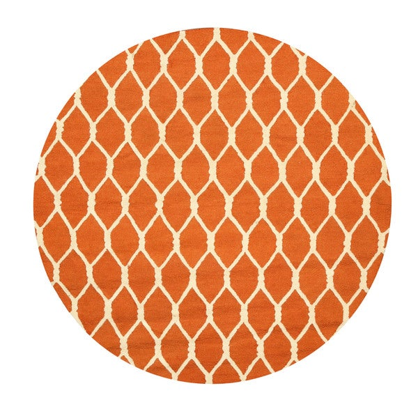 Hand-tufted Wool Orange Transitional Geometric Chain-Link Rug (6' Round)