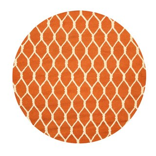 Hand-tufted Wool Orange Transitional Geometric Chain-Link Rug (6' Round) - 6'