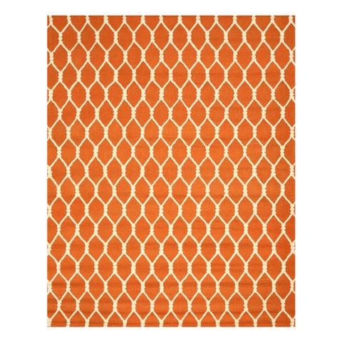 Hand-tufted Wool Orange Transitional Geometric Chain-Link Rug (5' x 8') - 5' x 8'