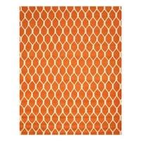 Hand-tufted Wool Orange Transitional Geometric Chain-Link Rug (5' x 8')