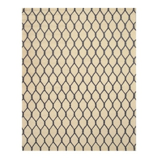 Hand-tufted Wool Ivory Transitional Geometric Chain-Link Rug (8'9 x 11'9)