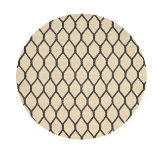 Hand-tufted Wool Ivory Transitional Geometric Chain-Link Rug (4' Round)