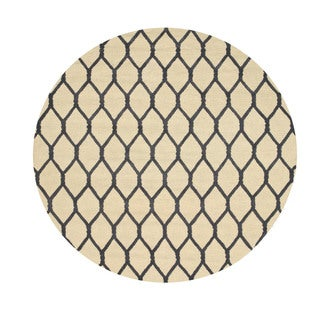 EORC Hand-tufted Wool Ivory Chain-Link Rug (4' Round)