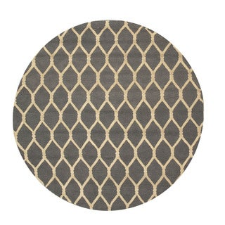 Hand-tufted Wool Gray Transitional Geometric Chain-Link Rug (6' Round) - 6'