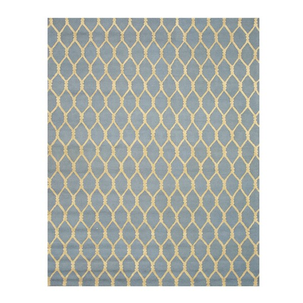 "Hand-tufted Wool Blue Transitional Geometric Chain-Link Rug (8'9 x 11'9) - 8'9"" x 11'9"""