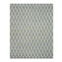 Hand-tufted Wool Blue Transitional Geometric Chain-Link Rug (8'9 x 11'9)