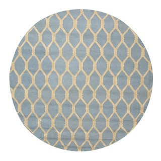 EORC Hand-tufted Wool Blue Chain-Link Rug (6' Round)
