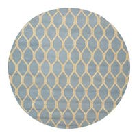 Hand-tufted Wool Blue Transitional Geometric Chain-Link Rug (6' Round)